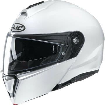 HJC I90 Pearl White Flip Modular Motorcycle Motorbike Helmet - Smart HJC Ready